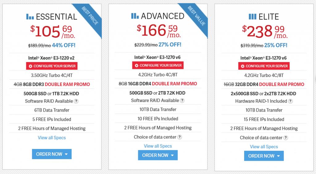 InMotion Hosting Dedicated Server Plan Pricing