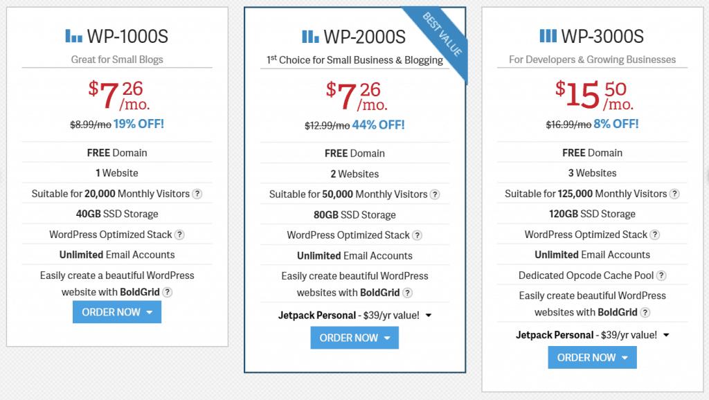 InMotion WordPress Hosting Plan Pricing